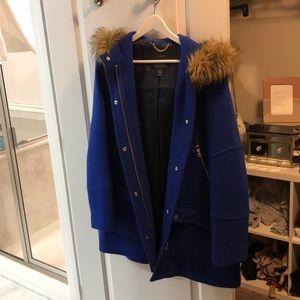 Jcrew wool coat with fur hood trim